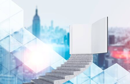 Concrete staircase leading to open book over blurred cityscape background. Concept of education and knowledge. 3d rendering toned image double exposure