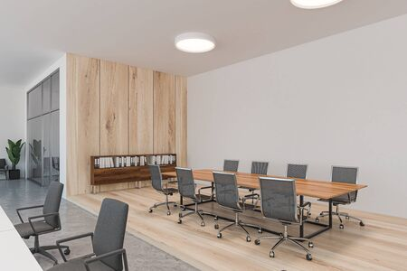 Corner of stylish meeting room with white and wooden walls, wooden floor, long conference table with chairs and round ceiling lamps. Concept of negotiation. 3d rendering 写真素材