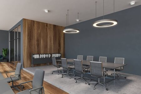 Corner of stylish meeting room with gray and wooden walls, concrete floor, long gray table with chairs and round ceiling lamps. Concept of negotiation. 3d rendering 写真素材