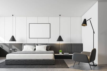 Interior of modern bedroom with white walls, concrete floor, king size bed, comfortable gray armchair and horizontal mock up poster. 3d rendering Stok Fotoğraf