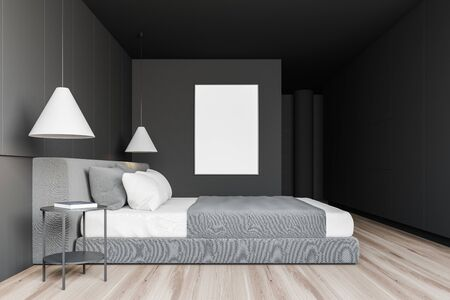 Side view of stylish bedroom with grey walls, wooden floor, comfortable king size bed and vertical mock up poster frame. 3d rendering