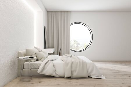 Side view of modern bedroom with white walls, wooden floor, comfortable master bed with white blanket and makeup table with mirror on it. Round window. 3d rendering Stok Fotoğraf