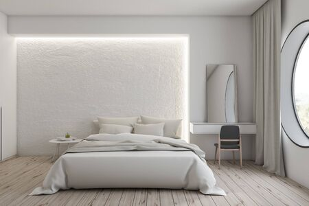 Interior of modern bedroom with white walls, wooden floor, comfortable master bed with white blanket and makeup table with mirror on it. 3d rendering