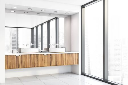 Corner of panoramic bathroom with white walls, tiled floor, window with cityscape and comfortable double sink standing on wooden countertop. 3d rendering Banque d'images - 131317782