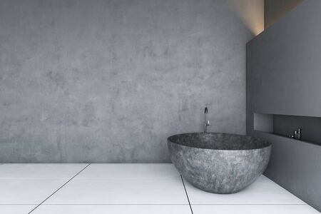 Interior of minimalistic grunge bathroom with gray and concrete walls, tiled floor and comfortable stone bathtub. Concept of luxury house. 3d rendering