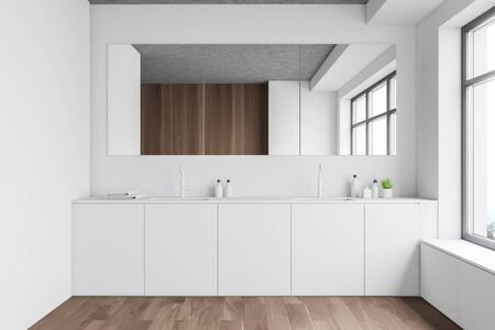 Interior of stylish bathroom with white and wooden walls, wooden floor, window and comfortable double sink with large mirror above it. 3d rendering Banque d'images - 131318095