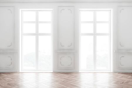 Interior of empty white room in classical style with white walls, wooden floor and two large windows with country view. 3d rendering