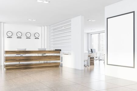 Corner of modern office with white walls, tiled floor, wooden reception table with computers and clocks showing time in New York, Sydney, London and Tokyo. Vertical mock up poster. 3d rendering 스톡 콘텐츠