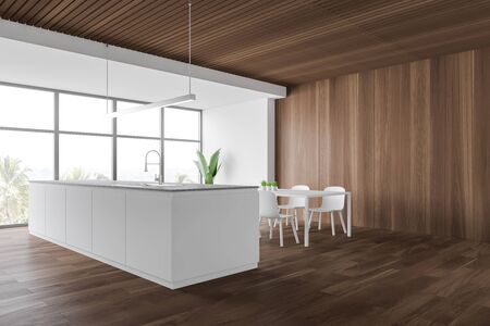 Corner of stylish kitchen with white and wooden walls, wooden floor, large window with tropical view, white island with built in sink and dining table with chairs. 3d rendering