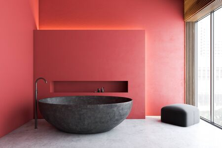 Interior of modern bathroom with red walls, concrete floor, round stone bathtub and armchair in the corner. Concept of spa. 3d rendering Stok Fotoğraf