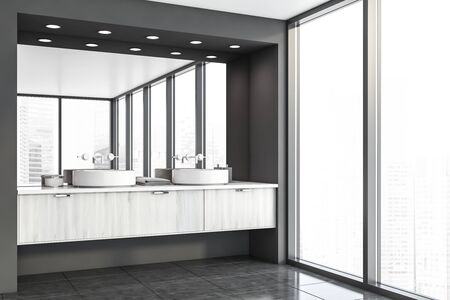 Corner of panoramic bathroom with gray walls, tiled floor, window with cityscape and comfortable double sink standing on white wooden countertop. 3d rendering Banque d'images - 131318491