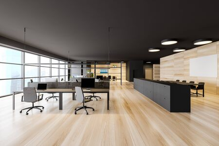 Open space office interior with dark gray walls, wooden floor, panoramic window with cityscape, rows of computer tables and meeting room with mock up poster to the right. 3d rendering