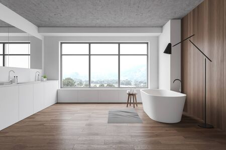 Interior of stylish bathroom with white and wooden walls, wooden floor, comfortable white bathtub, double sink and floor lamp. 3d rendering Stok Fotoğraf