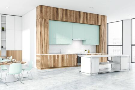 Corner of stylish kitchen with white and brick walls, concrete floor, wooden countertops, bar and two round dining tables near bookcase. 3d rendering Stock Photo