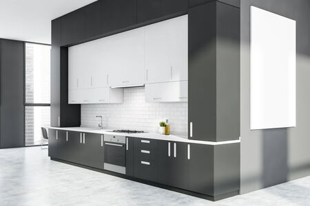 Interior of stylish kitchen with gray and white brick walls, white cupboards, gray countertops with built in stove and sink and vertical mock up poster. 3d rendering