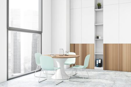 Interior of modern dining room with white walls, concrete floor, windows with cityscape, round table and white and wooden bookcase. 3d rendering
