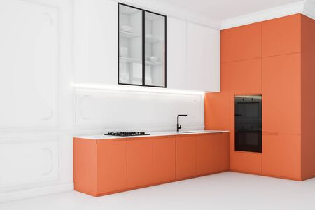 Corner of bright luxury kitchen with white walls and floor, white cupboards, orange countertops with built in sink and cooker and two modern ovens. 3d rendering Фото со стока