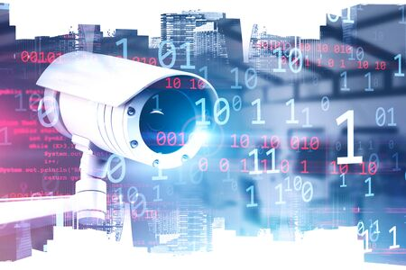 Modern CCTV camera over cityscape background with double exposure of digital numbers and lines of code. Concept of surveillance and security. 3d rendering toned image Stock fotó