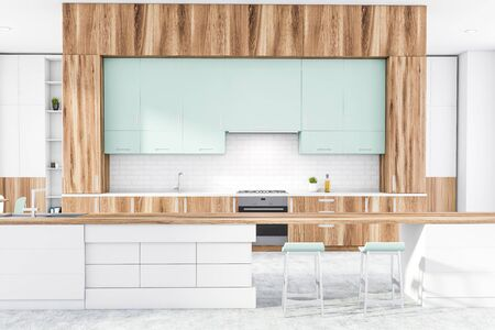 Interior of stylish kitchen with white and brick walls, concrete floor, wooden countertops, and long bar with stools. 3d rendering