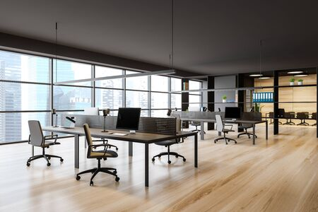 Open space office interior with dark gray walls, wooden floor, panoramic window with cityscape, rows of computer tables and meeting room in background. 3d rendering
