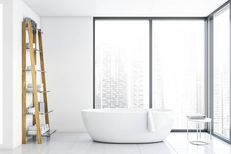 Interior of bathroom with white walls, panoramic windows with cityscape, tiled floor, comfortable white bathtub and shelves with towels and creams. 3d rendering