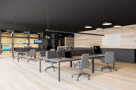 Open space office interior with dark gray walls, wooden floor, panoramic window with cityscape, rows of computer tables and bookcase with folders. Horizontal mock up poster. 3d rendering