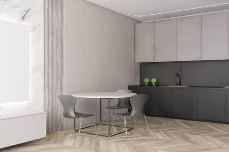 Corner of luxury kitchen with white and marble walls, wooden floor, gray countertops, beige cupboards and round dining table with chairs. 3d rendering Banco de Imagens