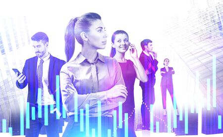 Team of business people with smartphones standing in modern city with double exposure of digital graphs. Concept of teamwork and trading. Toned image Фото со стока