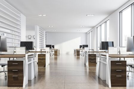 Modern consulting company open space office with white walls, tiled floor and rows of dark wooden computer tables. 3d rendering
