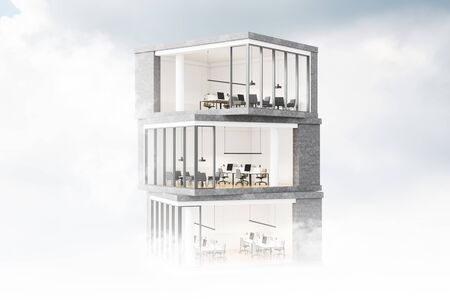 Model of modern skyscraper with offices inside it. Cloudy sky background. Concept of architecture and design. 3d rendering Banco de Imagens