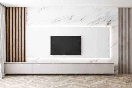 Intérieur d'un salon minimaliste avec des murs en marbre et en bois, du parquet et une télévision à écran plat moderne. Concept de système de divertissement à domicile et de technologie. rendu 3D Banque d'images