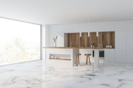 Corner of comfortable kitchen with white and wooden walls, marble floor, panoramic window, white countertops and bar with stools. 3d rendering