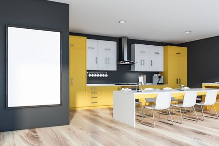 Interior of stylish kitchen with grey walls, wooden floor, yellow countertops with built in stove, white cupboards, long dining table with chairs and vertical mock up poster frame. 3d rendering