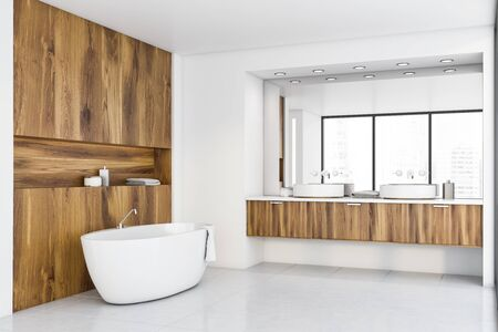Corner of original bathroom with white and light wooden walls, tiled floor, panoramic window with cityscape, comfortable bathtub and double sink with large mirror. 3d rendering