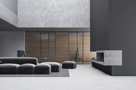 Corner of stylish loft living room with gray and wooden walls, concrete floor, comfortable sofa and armchair near fireplace. Bench in corridor in background. 3d rendering