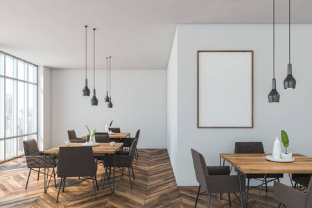 Interior of modern cafe with white walls, wooden floor, rows of square wooden tables and brown armchairs. Vertical mock up poster frame on the wall. 3d rendering