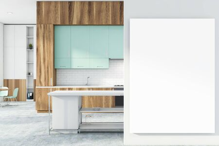 Interior of stylish kitchen with white and brick walls, concrete floor, wooden countertops, bar and round dining table near bookcase. Vertical mock up poster. 3d rendering