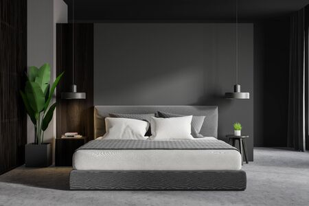 Interior of minimalistic master bedroom with gray and dark wooden walls, concrete floor, comfortable king size bed with bedside table and potted plant. 3d rendering 版權商用圖片