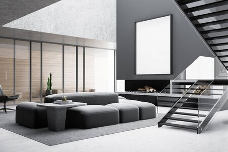 Corner of stylish living room with gray and wooden walls, concrete floor, comfortable sofa and armchair near coffee table, mock up poster above fireplace and stairs. 3d rendering Reklamní fotografie
