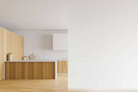Interior of spacious kitchen with white and wooden walls, wooden floor, large windows, wooden countertops, white cupboards and island. Mock up wall to the right. 3d rendering