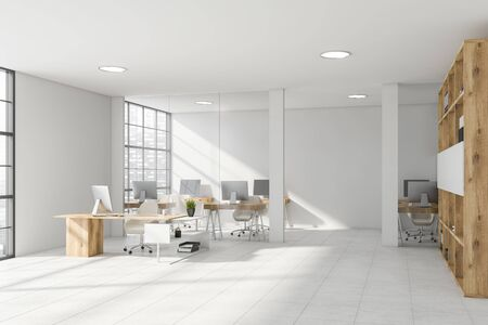 Interior of stylish CEO office with white and glass walls, tiled floor, comfortable desk and open space area with compact computer tables in background. Bookcase with folders. 3d rendering