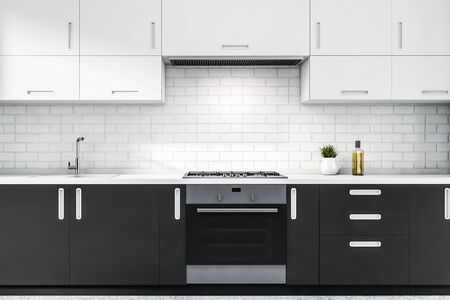 Close up of gray kitchen countertops with built in stove and sink and white cupboards above them in modern white brick room. 3d rendering Фото со стока