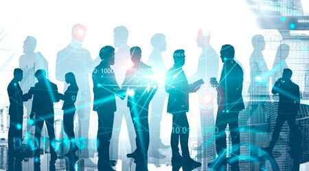 Silhouettes of diverse business people in modern city with double exposure of HUD interface and network hologram. Concept of communication, teamwork and hi tech startup. Toned image Foto de archivo - 131327730
