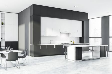 Corner of stylish kitchen with gray and white brick walls, concrete floor, dark gray countertops, bar with stools and two round dining tables near bookcase. 3d rendering