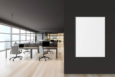 Open space office interior with dark gray walls, wooden floor, panoramic window with cityscape, rows of computer tables and bookcase with folders. Vertical mock up poster frame. 3d rendering Stock Photo