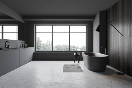Interior of stylish bathroom with gray and dark wooden walls, concrete floor, comfortable grey bathtub, double sink and floor lamp. 3d rendering Stock Photo