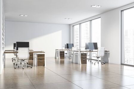 Interior of stylish consulting company office with white walls, tiled floor and rows of dark wooden computer tables. Corporate lifestyle concept. 3d rendering