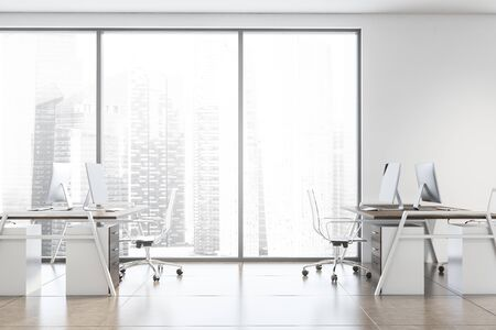 Side view of modern consulting company open space office with white walls, tiled floor and rows of dark wooden computer tables. Window with cityscape. 3d rendering Stock Photo