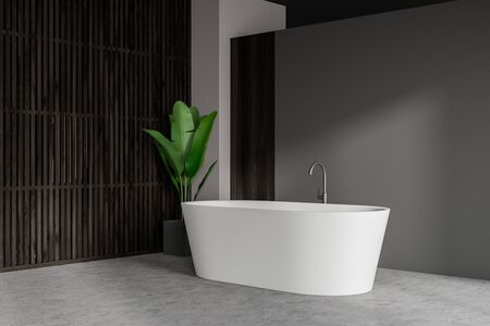Corner of minimalistic bathroom with grey and dark wooden walls, concrete floor, comfortable white bathtub and potted plant. Concept of relaxation. 3d rendering Stok Fotoğraf