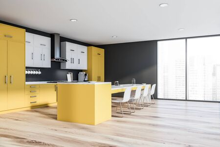 Corner of modern kitchen with dark gray walls, wooden floor, yellow countertops, white cupboards and long yellow island with chairs. 3d rendering Stock Photo